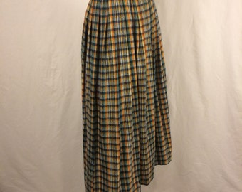 Vintage 70s Multicoloured Plaid Wool Pleated Maxi Skirt with Wide Waistband and Belt Dead-stock
