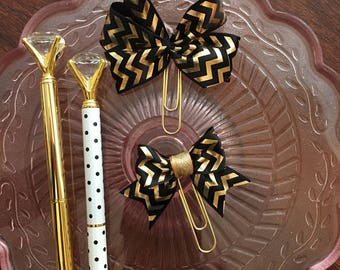 Planner Bow Paper clips | Set of Two | Black and Gold Chevron Bows