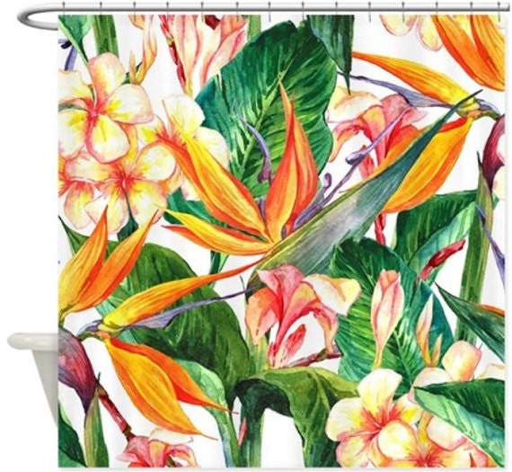 Bird Of Paradise Shower Curtain By Beachybotikishop On Etsy