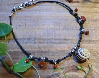 """Bird berries witch"" with Jasper and shell necklace"