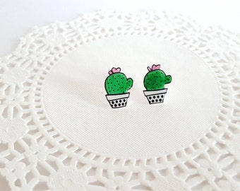 Cactus Stud Earrings | Shrink Plastic, Cute, Succulents.