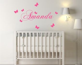 Personalised Girls Name Nursery Wall Decal/Wall Sticker With Butterflies - Custom Wall Art For Girls Bedroom Decor