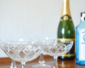Set of 4 bowls of sparkling wine champagne glass cups glasses polished