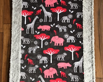"""Jungle Minky Blanket - Pink and Gray Baby Blanket - Baby Blanket size (28""""x38"""")"""