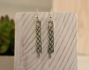 Silver earrings, dangle earrings, Chain earrings