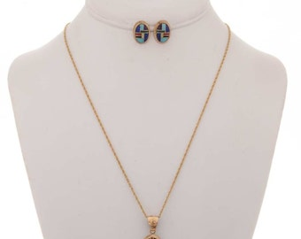 Zuni Gold Pendant Earrings Set Inlay Pattern With Chain