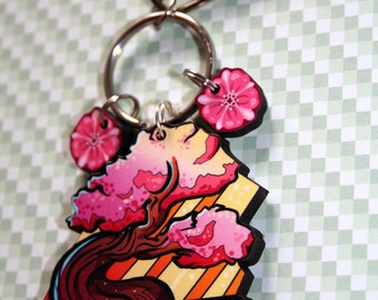 Flowering Bonsai Tree Keyring or Necklace Charm, Sakura Cherry Blossoms, Wooden, Japanese Inspired Flowering Bonsai Tree on Maple Wood