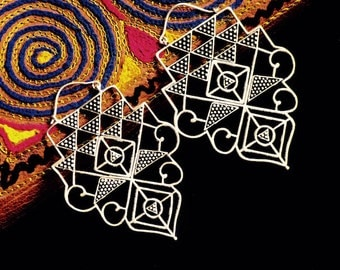 Sacred geometry earrings/silver plated brass earrings/boho jewelry