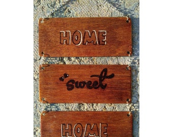 "Woodburning Sign Hanging Wall Art Decor ""Home Sweet Home"""