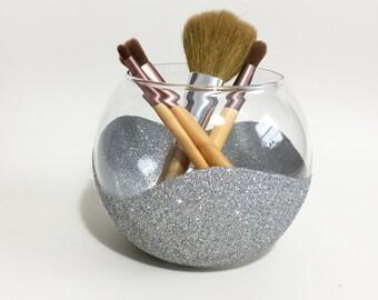 Make Up Brush Holder - Makeup Vanity - Silver Brush Holder - Bathroom Decor - Silver Decor - Glitter Brush Holder - Makeup Organizer - Gift