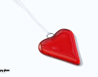 Fused glass heart - Red heart - Red Glass Heart - Anniversary gift - Wedding favour - Valentine's Gift - Heart suncatcher
