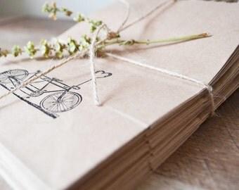 handstamped bicycle love paper gift bag- set of 10