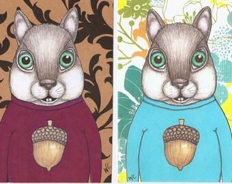 Cute Squirrel in an acorn sweater