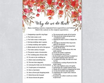 Why do we do that bridal shower game, red floral, forest watercolor, Hen party game, Printable game, INSTANT DOWNLOAD