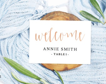 Editable place cards, Table place cards, Place card template, Rustic wedding decor, Name place cards, Printable place cards rustic