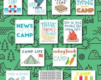 Set of 12 Personalized Camp Notes - Postcards from Camp - Personalized Camp Postcards from Your Camper - Summer Camp Stationery