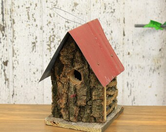 Real Wood Design Birdhouse With Tin Roof (2 Assorted Colors) Red Roof, Black Roof