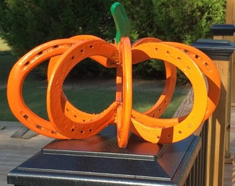 Horseshoe Pumpkin/New or used horseshoes/Halloween or Fall decoration/Small or large size available/Housewarming gift