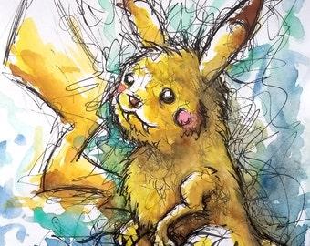 Original Watercolour & Ink Pokemon Pikachu A6