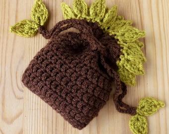 reusable gift bag, crochet kit//nature inspired//crochet gift pouch//easy crochet kit//crochet gift//crochet bag kit//crochet leaf pattern