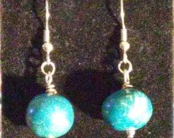 Blue Turquoise & Sterling Earrings