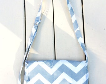 Green/Gray Canvas Chevron Messenger Bag