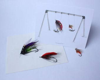 """Watercolour Dry Fly & Wet Fly Greeting Card (Blank) #2 - Fly Fishing Series """"Swinging Flies"""""""
