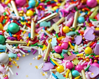 Party Monster Blend, Neon Rainbow Sprinkles, Candy Sprinkles, Crunchy Sprinkles, Glitter Sprinkles