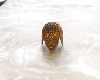 French Vintage~Fleur De Lis~LG Bead Cap(1pc)Vintage Brass Large~Fleur de Lis~Tassel Cap/French Findings/Gorgeous Fleur de Lis Tassel Cap