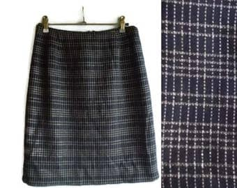 Vintage Tweed Pencil skirt, posh skirt, pencil skirt, blue tweed skirt, checked skirt, classic skirt, tweed skirt, tight skirt, size M