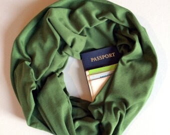 Grasshopper | Organic Cotton Olive Green Infinity Scarf With Hidden Pocket
