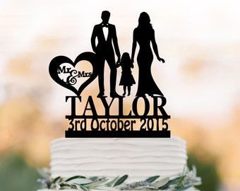 Family Wedding Cake topper with girl, Customized wedding cake toppers, funny wedding cake toppers with child silhouette