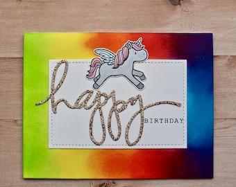 Happy Birthday Card - Birthday Card - Girl Birthday Card - Girl Card - Rainbow Card - Unicorn Card - Blank Card - Greeting Card