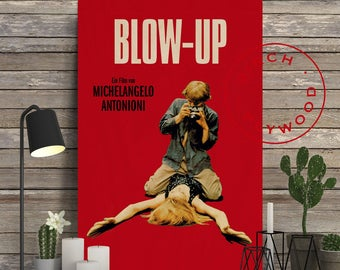 BLOW-UP - Poster on Wood, David Hemmings, Vanessa Redgrave, Michelangelo Antonioni, Movie Poster, Unique Gift, Print on Wood, Wood Gift