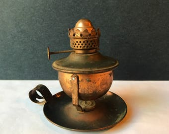 Vintage Copper Oil Lamp - Wall Hanging or Table / Finger Loop Oil Lamp / Rustic / Farmhouse