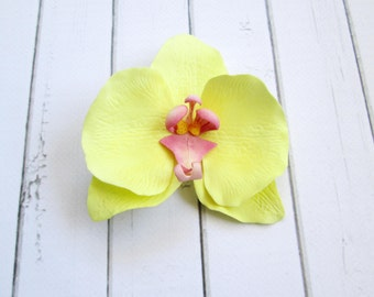 Yellow Orchid Hair Clip - Wedding Flower Hair Accessories - Flowers Hair Pin - flowers hair grips -  hair decoration - Orchid bobby pin