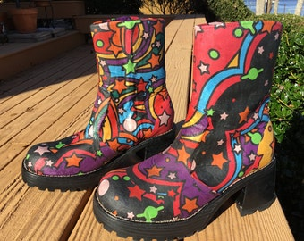 """Women's upcycled size 8, leather side zip boots, chunky heel, boxy big round toe, Captain Fantastic, 70's style, Elton John from ''Tommy"""""""