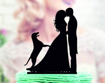 Wedding cake topper with dog Labrador  , Couple with Dog Labrador Cake Topper , silhouette dog Labrador cake topper for wedding