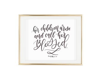 Mother's Day Gift/Scripture Art- Blessed- Typography Art/Christian Wall Art/Christian Gifts for her/Grandmother Gift