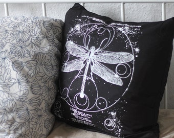 hand-printed Cushion cover occult dragonfly