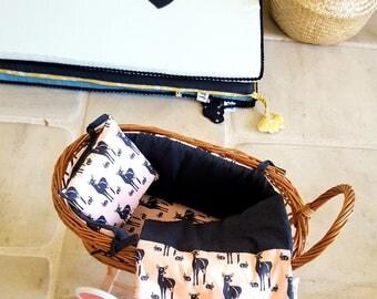 Vintage - organic cotton doll - rattan basket Biches - Reversible - birthday gift