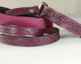 Wine  Tooled Leather Collar and Leashes