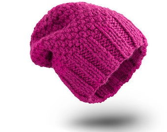 Thick Hat Oriental Pink Wool hat for women beanie hat  chunky hand knit hat