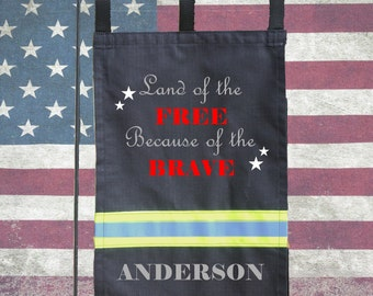 Firefighter BLACK Garden Flag - Land of the Free because of the Brave