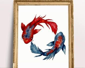 Japanese art etsy for Japanese koi art prints
