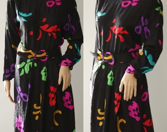 Colorful 80s/90s Silk Dress