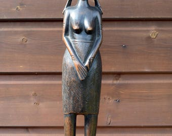 Carved wood, African Statue,vintage African art,African sculpture,ebony sculpture,hardwood statue,tribal figure,African tribal,hello world,