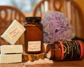 Spearmint and Grapefruit soap and scrub bundle