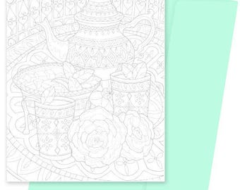 A5 Colouring Card- Moroccan Mint