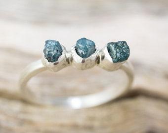 Trio Blue Rough Diamond Ring